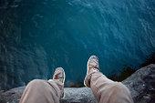 Jumping Into Lake Superior Water