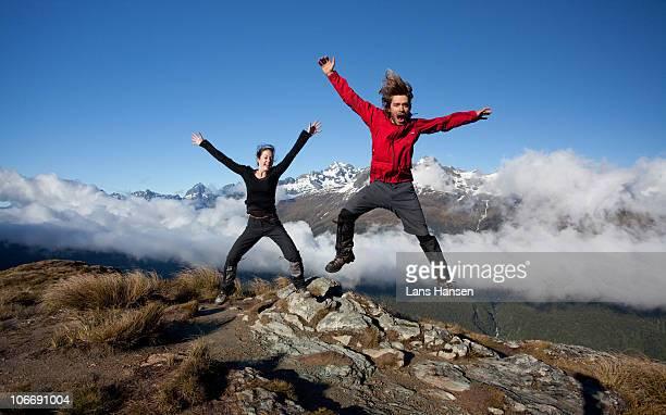 jumping man  and woman
