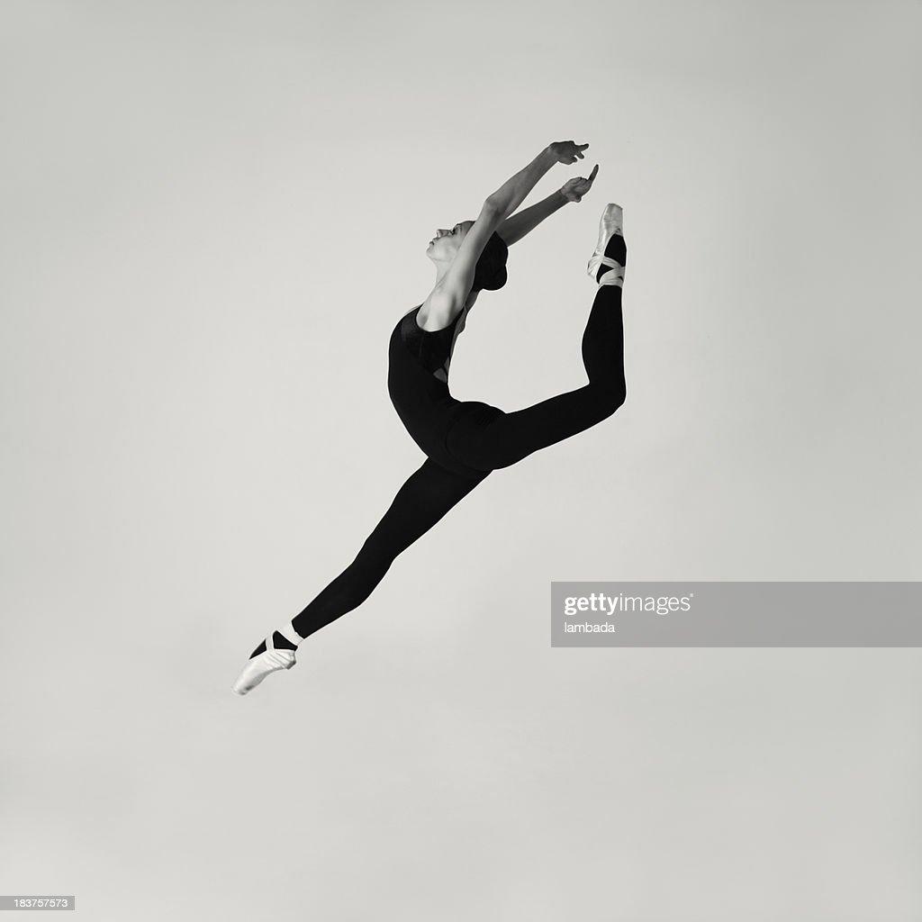 Jumping modern ballet dancer
