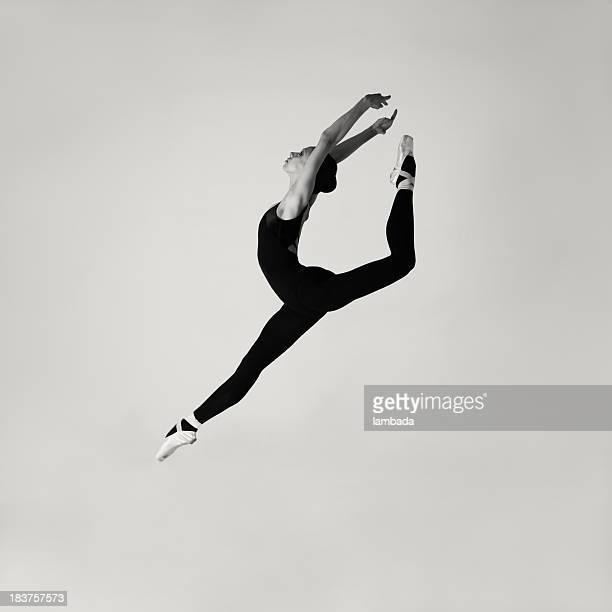 Jumping modern ballet dancer