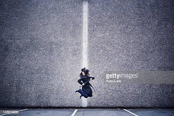 Jumping Professional Woman Minimalism