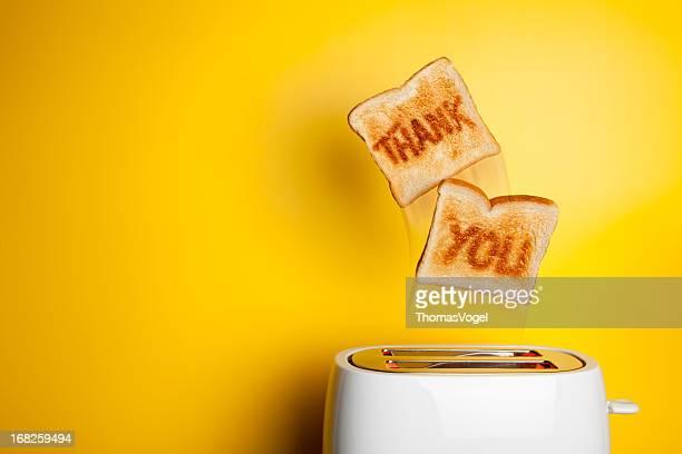 Jumping toast Brot-Vielen Dank