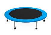 Jumping Trampoline isolated on white background. 3D render