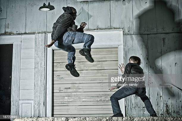 Jumping up to Kick in Kenpo Karate on the Street