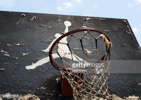 Jumpman logo by Nike on the old basketball backboard : Stock Photo