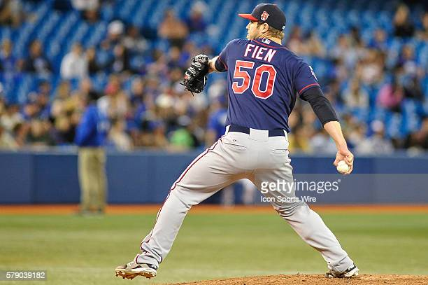 Minnesota Twins pitcher Casey Fien enters the game in the nineth inning The Toronto Blue Jays defeated the Minnesota Twins 5 4 at the Rogers Centre...