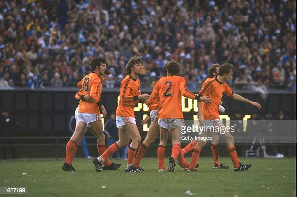General view of dutch players during the World Cup Final match between Holland and Argentina at the Monumental Stadium in Buenos Aires Argentina...