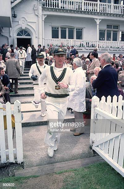 Australian captain Kim Hughes leads his team out for the First Ashes Test match between England and Australia at Trent Bridge in Nottingham England...