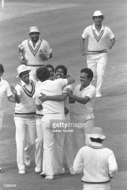 India celebrate as they win the 1983 Cricket World Cup by beating West Indies in the final at Lords Mandatory Credit Adrian Murrell/Allsport UK
