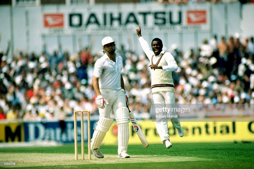 Malcolm Marshall of the West Indies captures Imran Khan of Pakistan during the World Cup semifinal at The Oval in London Mandatory Credit Adrian...