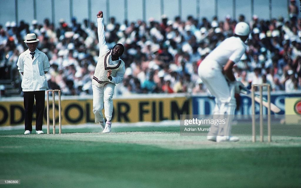 Malcolm Marshall of the West Indies in action during the World Cup tournament at the Oval Mandatory Credit Adrian Murrell/ALLSPORT