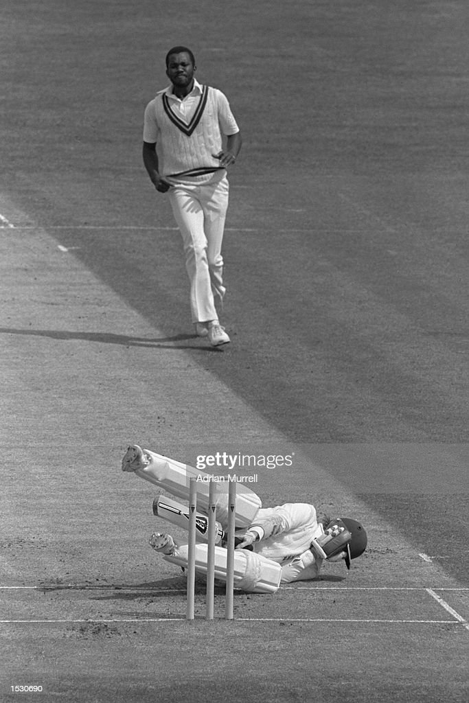 Andy Lloyd of England is hit by Malcolm Marshall of the West Indies during the first test at Edgbaston in Birmingham Mandatory Credit Adrian...