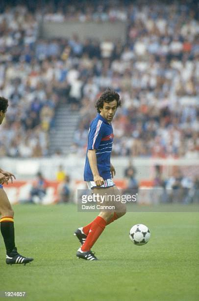 Michel Platini of France in action during the European Championship final against Spain at Parc des Princes in Paris France won the match 20...