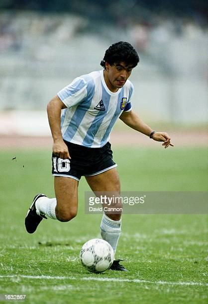Diego Maradona of Argentina in action during the World Cup First Round match against Bulgaria at the Olympic Stadium in Mexico City Argentina won the...