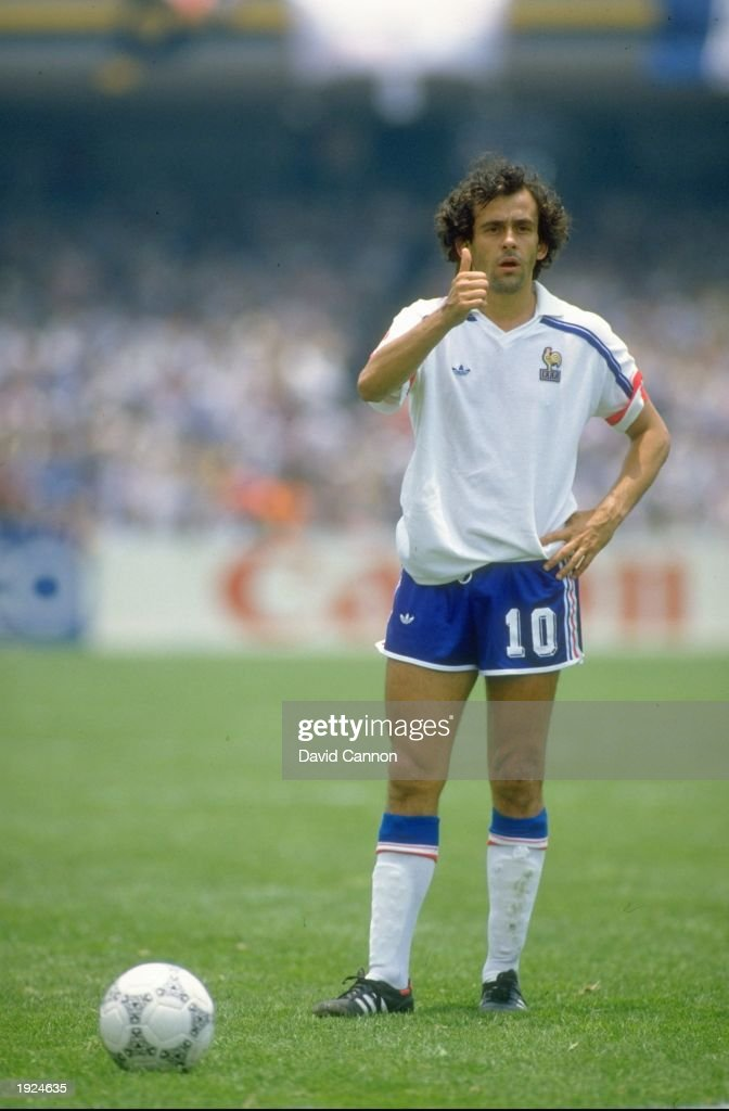 <a gi-track='captionPersonalityLinkClicked' href=/galleries/search?phrase=Michel+Platini&family=editorial&specificpeople=206862 ng-click='$event.stopPropagation()'>Michel Platini</a> of France gives a thumbs up during the World Cup Second Round match against Italy at the Olympic Stadium in Mexico City. France won the match 2-0. \ Mandatory Credit: David Cannon/Allsport