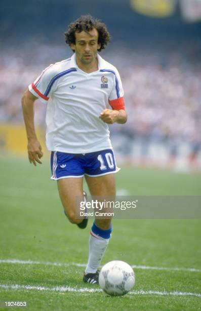 Michel Platini of France in action during the World Cup Second Round match against Italy at the Plympic Stadium in Mexico City France won the match...