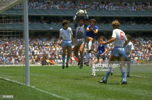 Peter Shilton of England catches the ball during the 1986 World Cup quarter final match against Argentina at the Azteca Stadium in Mexico City Mexico...