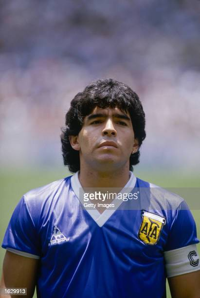 Portrait of Diego Maradona of Argentina before the World Cup quarterfinal against England at the Azteca Stadium in Mexico City Argentina won the...