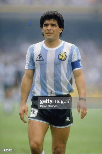 Portrait of Diego Maradona of Argentina during the World Cup match against Bulgaria at the Olympic Stadium in Mexico City Argentina won the match 20...