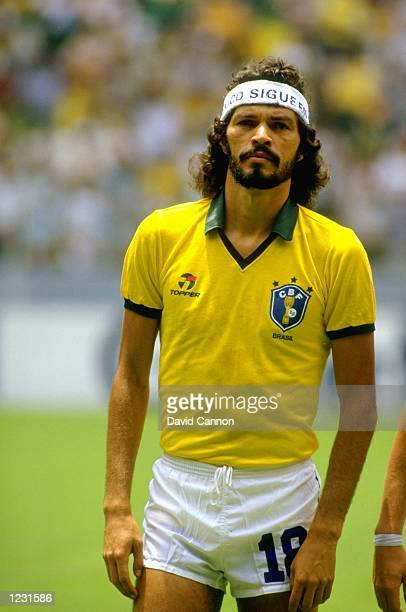 Socrates of Brazil lines up before the World Cup match against Spain at the Jalisco Stadium in Guadalajara Mexico Brazil won the match 10 Mandatory...