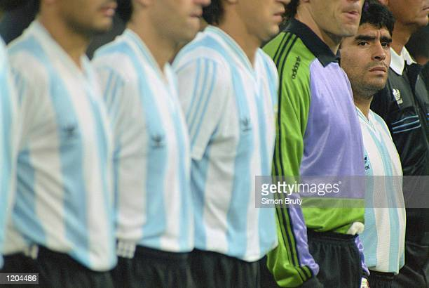 Diego Maradona of Argentina lines up before the World Cup match against the USSR played in Italy The match finished in a 20 win for Argentina...