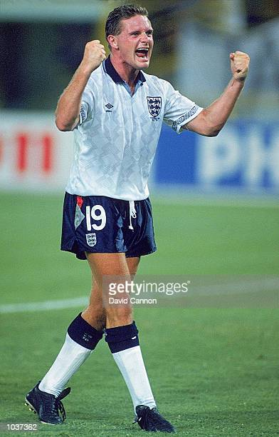 Paul Gascoigne of England celebrates during the World Cup second round match against Belgium at the Dall''Ara Stadium in Bologna Italy England won...
