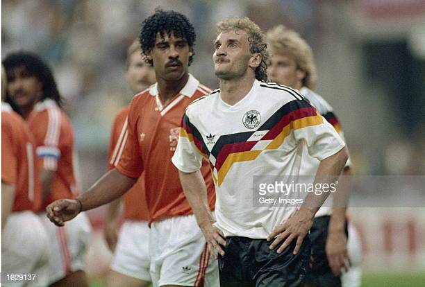 Portrait of Rudi Voller of West Germany and Frank Rijkaard of Holland during the World Cup Second Round match at the Giuseppe Meazza Stadium in Milan...