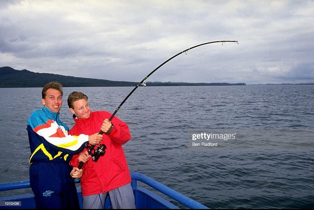 David Platt and David Batty of England go fishing during their tour to Australia. \ Mandatory Credit: Ben Radford/Allsport