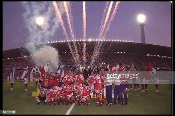 Denmark celebrate victory over Germany in the final of the European nations cup by 20 in Gothenburg Sweden Mandatory Credit Allsport UK