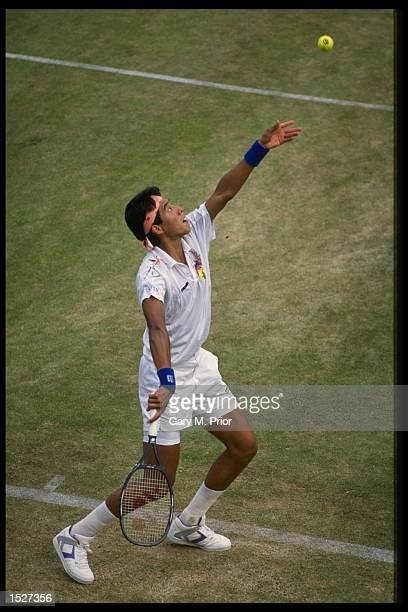 Shuzo Matasuoka of Japan in action during the Wimbledon tennis championships at the all England club in London Mandatory Credit Gary Prior/Allsport UK