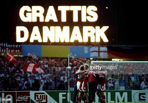The scoreboard congratulates Denmark after the European Championship Final against Germany at the Ullevi Stadium in Gothenburg Sweden Denmark won the...