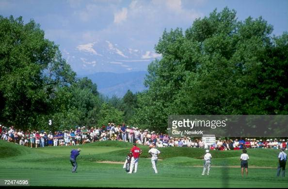 Arnold Palmer hits a chip shot onto the third green of the Cherry Hills Golf Course in Englewood Colorado during the 1993 US Senior Open Mandatory...