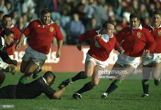 Ieuan Evans of the British Lions runs with the pack during the New Zealand v British Lions match in the Second Test of the British Lions tour of New...