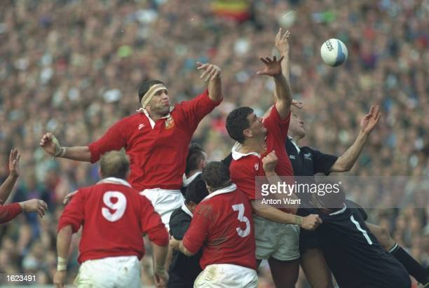 Martin Bayfield and Martin Johnson both of the British Lions lose the ball in the line out during the third test against New Zealand in Auckland New...