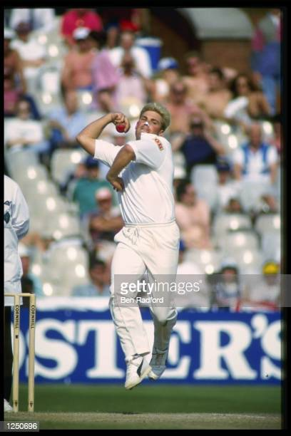 Shane Warne about to bowl for Australia against England in his 1st Ashes Test at Old Trafford Manchester Mandatory Credit Ben Radford/Allsport UK