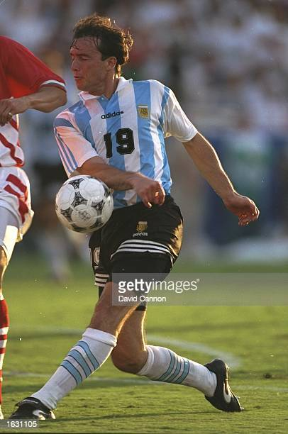 Abel Balbo of Argentina in action during the World Cup match against Bulgaria at the Cotton Bowl in Dallas Texas USA Bulgaria won the match 20...