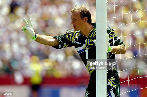 Brazil goalkeeper Claudio Taffarel indicates to team mates during the World Cup First Round match against Russia at the Stanford Stadium in San...