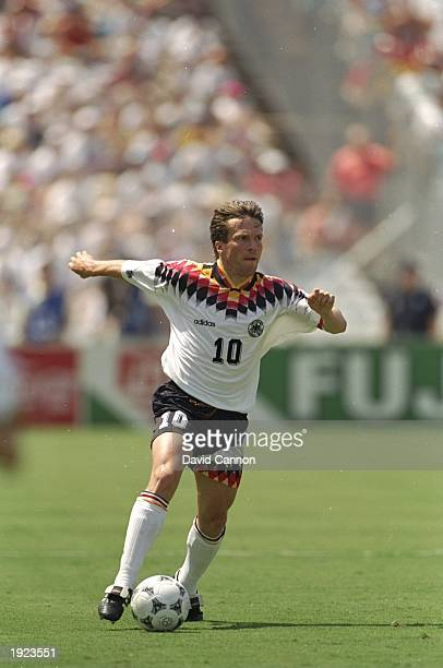 Lothar Matthaus of Germany in action during the World Cup match against South Korea at the Cotton Bowl in Dallas Texas USA Germany won the match 32...