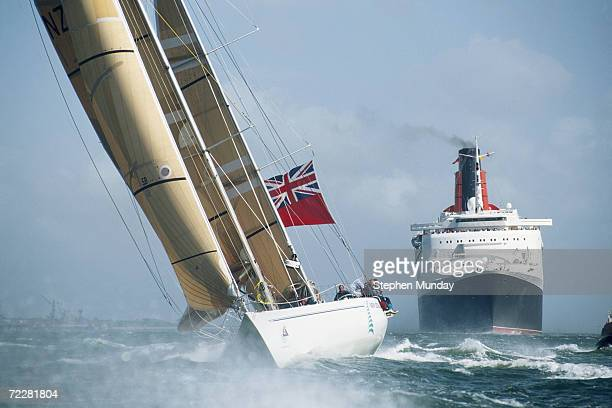 New Zealand's Endeavour passes the QEII on its way into Southampton in the final leg of the Whitbread Round the World Race in England Mandatory...