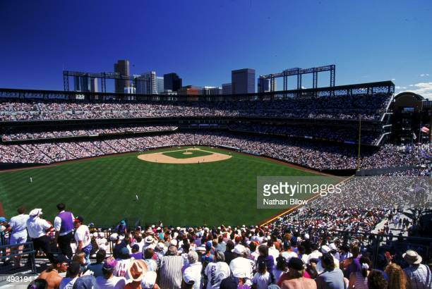 A wide general view of the baseball diamond at Coors Field taken during a game between the Atlanta Braves and Colorado Rockies in Denver Colorado...