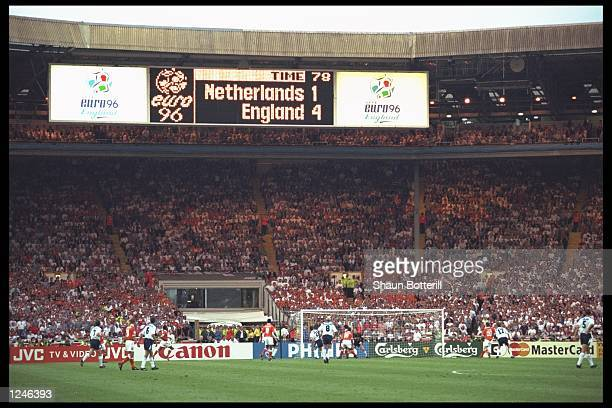 A general view of the match between England and Holland at Wembley during the European Football Championships England beat Holland 41