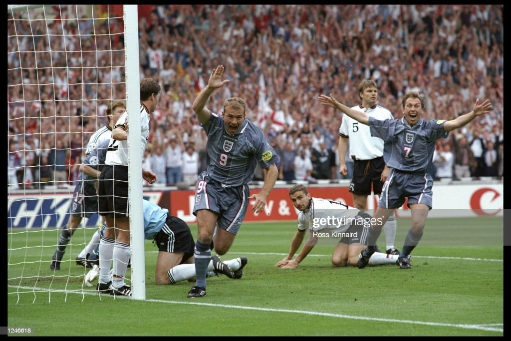 Alan Shearer (number 9) scores for England during the European championship semi final match between England and Germany at Wembley Stadium, London. Germany won the match after extra time in a penalty shoot out 1(6) 1(5). Mandatory Credit:Ross Kinnaird/Allsport UK
