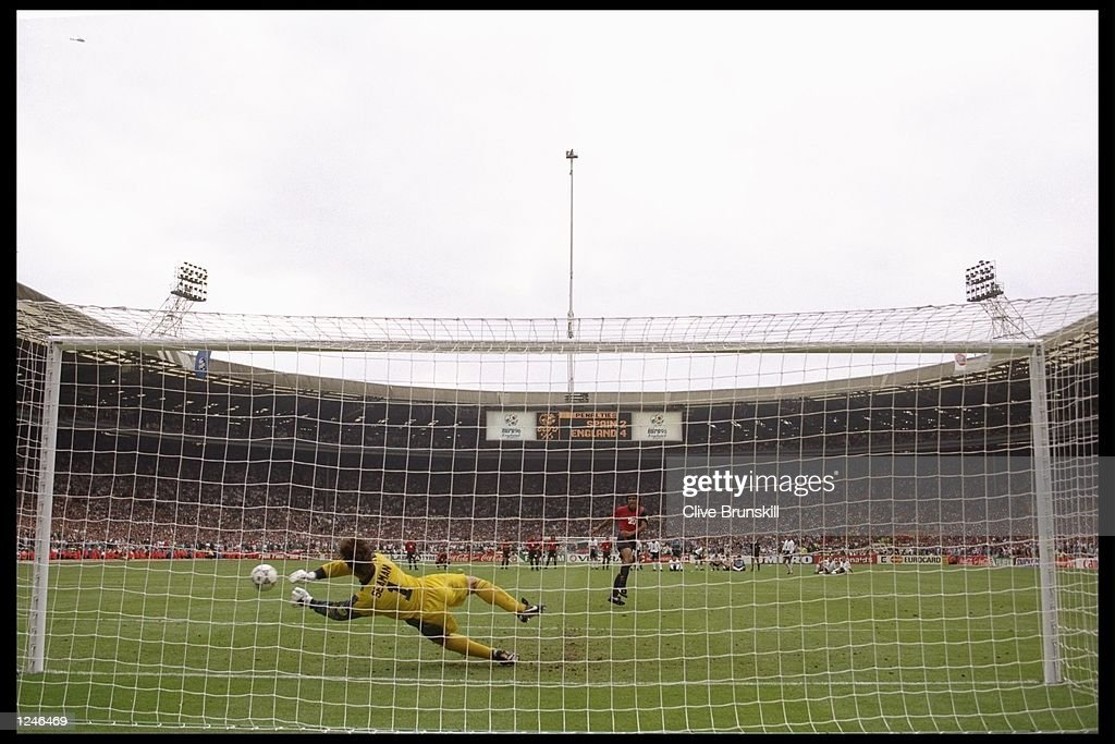 David Seaman of England saves Angel Nadal of Spain's penalty during the European soccer championship match between England and Spain at Wembley Stadium, London. England won the match after extra timein a penalty shoot-out by 0(4) 0(3). Mandatory Credit: Clive Brunskill/Allsport UK