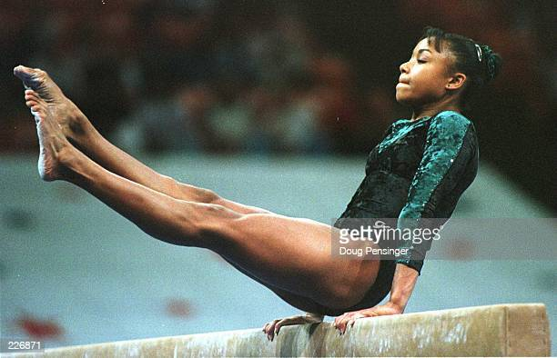 Dominique Dawes performs on the Balance Beam during the compulsory''s at the USA Gymnastics National Championships Dawes the Olympic hopeful is in...