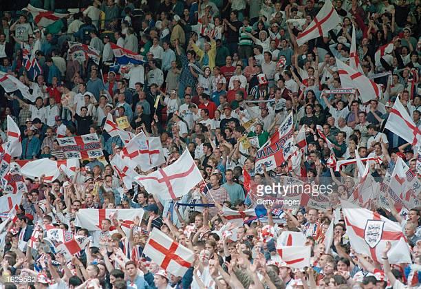 England fans enjoy the atmosphere at a European Championship match at Wembley in London England Mandatory Credit Allsport UK /Allsport