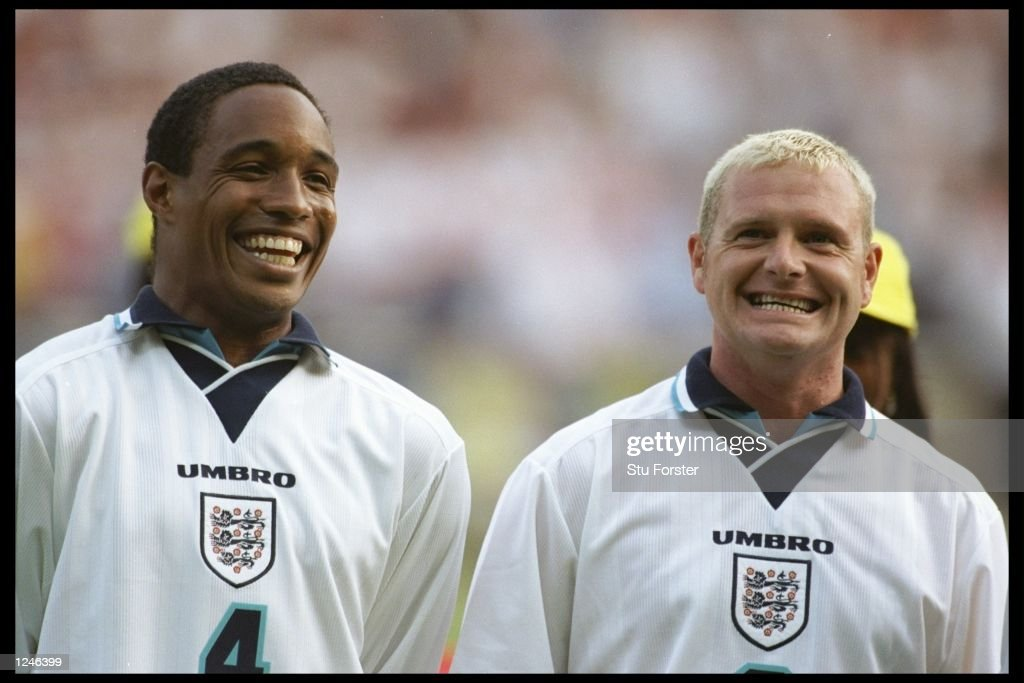 England players Paul Ince (left) and <a gi-track='captionPersonalityLinkClicked' href=/galleries/search?phrase=Paul+Gascoigne&family=editorial&specificpeople=211121 ng-click='$event.stopPropagation()'>Paul Gascoigne</a> smile for the camera after England beat Holland in the Group A match at Wembley during the European Football Championships. England beat Holland 4-1.