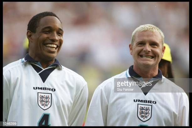 England players Paul Ince and Paul Gascoigne smile for the camera after England beat Holland in the Group A match at Wembley during the European...