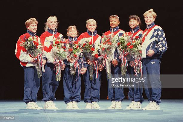 File Picture of the US Womens Gymnastic Team after the US Olympic Team Trials at the Fleet Center in Boston Massachusetts