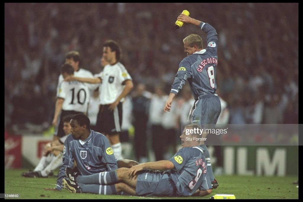 <a gi-track='captionPersonalityLinkClicked' href=/galleries/search?phrase=Paul+Gascoigne&family=editorial&specificpeople=211121 ng-click='$event.stopPropagation()'>Paul Gascoigne</a> of England shows his frustration during the European soccer championships semi final match between England and Germany at Wembley Stadium, London. Germany won the match after extra time in a penalty shoot out by 1(6) 1(5). Mandatory Credit: Stu Forster/Allsport UK