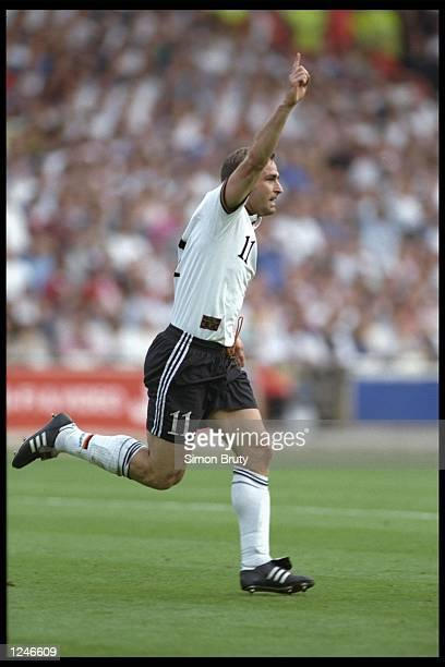 Stefan Kuntz of Germany scores the equalising goal during the European championship semi final match between England and Germany at Wembley Stadium...